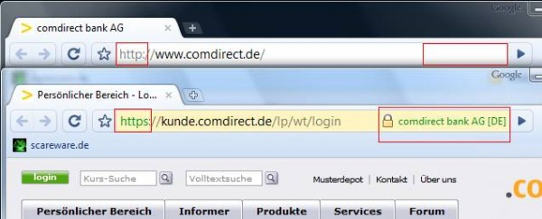 Google Chrome: Farbig hinterlegte Adressezeile, Anbietername neben Schloß-Zeichen, htpps und Anbietername in der selben Farbe.