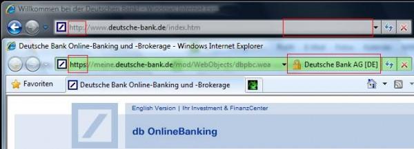 Internet Explorer 8.x: Farbig hinterlegte Adresszeile, Schlosssymbol, Name des Anbieters.