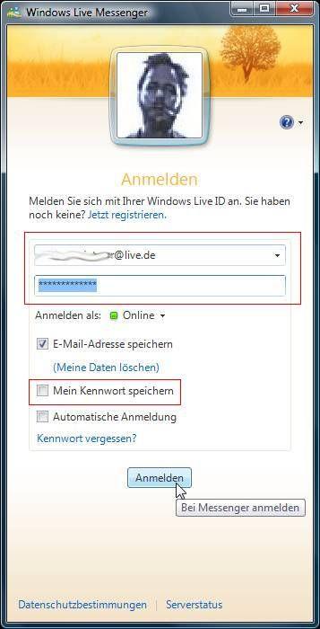 e-mail live.de anmelden