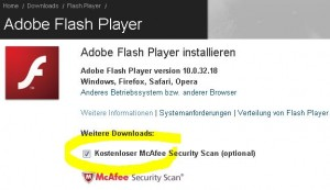 Adobe und der McAfee Security Scan