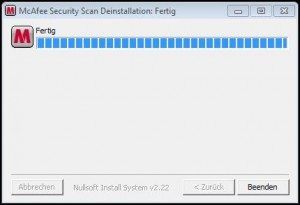 McAfee Security Scan deinstalliert.