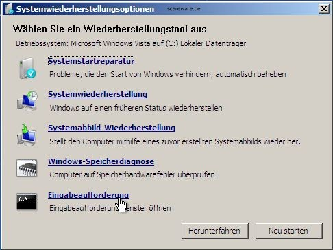 Windows 7 Rescue-CD: Boot-Menü