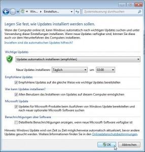 Windows 7: Windows Update Einstellungen