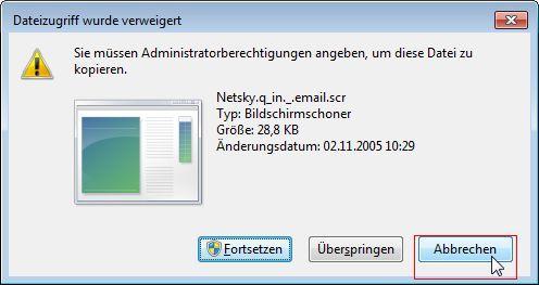 Kein Hinweis, das MSE die Datei sperrt. Arghl!