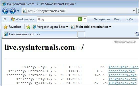 Der Dienst Sysinternals Live im IEX