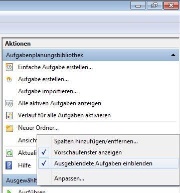 Windows 7: Ausgeblendete Aufgaben einblenden