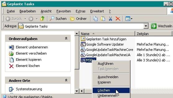Windows XP: MSE-1.x-Update-Task löschen
