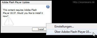 Geniale Gaunerei: Die Flash-Anwendung, die so tut, als wünsche sie sich ein Update. Selbst die rechte Maustaste zeigt nur, dass es sich um gewöhnliches Flash handelt