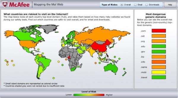"""Kamerun in Afrika: plötzlich in dder Top-Liste der Malware-Schleudern. Vielleicht ein Grund: Die Domain """".cm"""" unterscheidet sich kaum von """".com"""". (Grafic: McAfee/Business Wire)"""