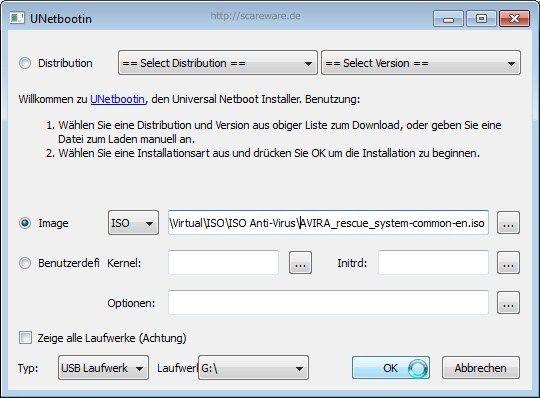 Mit UNetbootin die Avira AntiVir Rescue CD auf USB-Stick übertragen