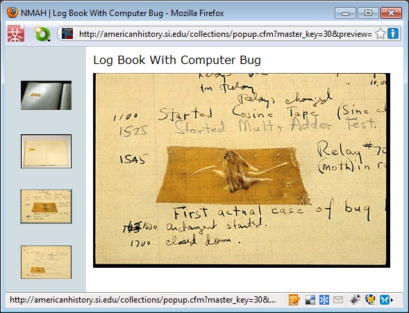 Die Website http://americanhistory.si.edu/ zeigt den ersten Bug