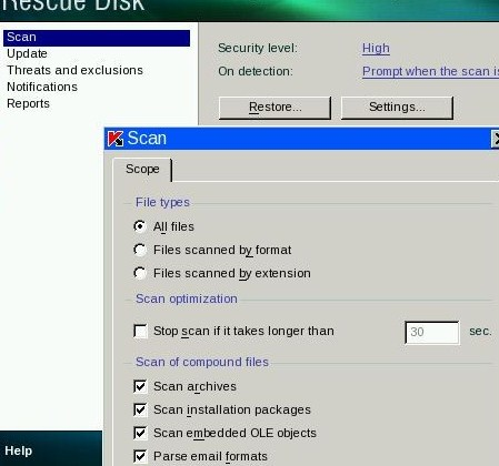Kaspersky Rescue Disk Settings
