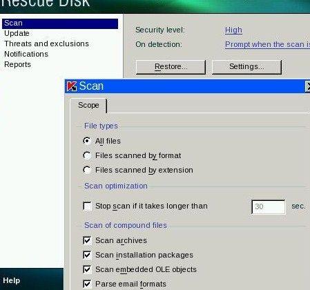 Kaspersky Rescue Disk Settings
