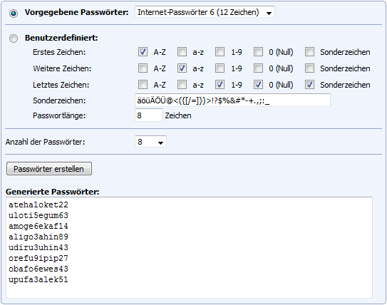 Passwort Generator von gaijin.at