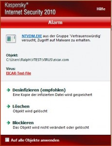 Virenscanner-Meldung zum eicar-Testfile von Kaspersky