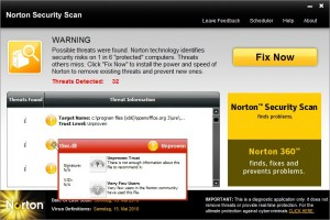Norton Security Scan - Threats Detected: 32