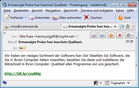 Spam-Mail mit Short-URL von bit.ly