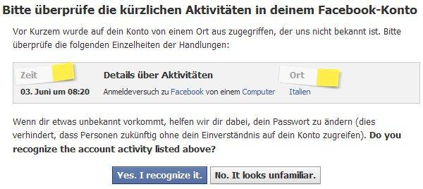'Bitte überprüfe die kürzlichen Aktivitäten in Deinem Facebook-Konto'