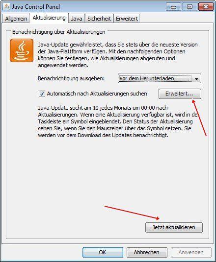 Java Control Panel: Aktualisierung