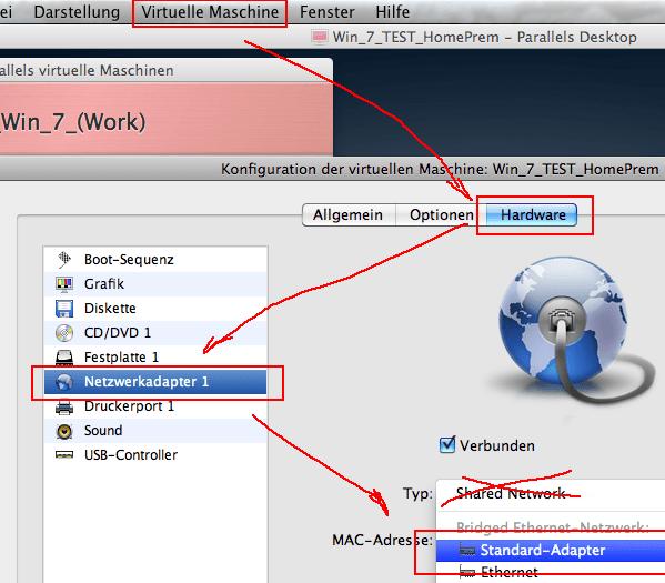 Mac Parallels Desktop: Windows 7 Heimnetzwerk