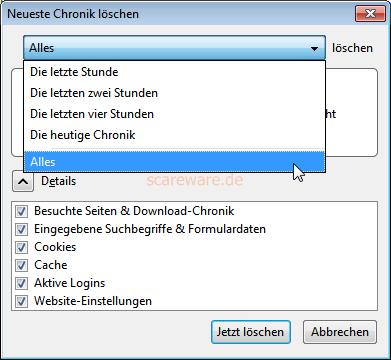 Firefox: Neueste Chronik löschen