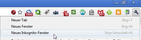 Google Chrome: Neues Inkognito-Fenster