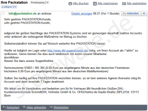 DHL Packstation: Phishing-Mail