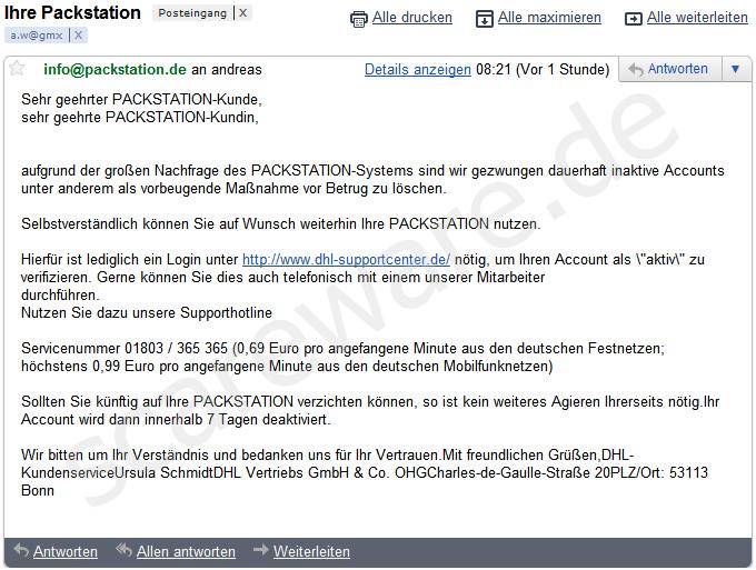 dhl packstation phishing 39 dhl verifikation auf. Black Bedroom Furniture Sets. Home Design Ideas