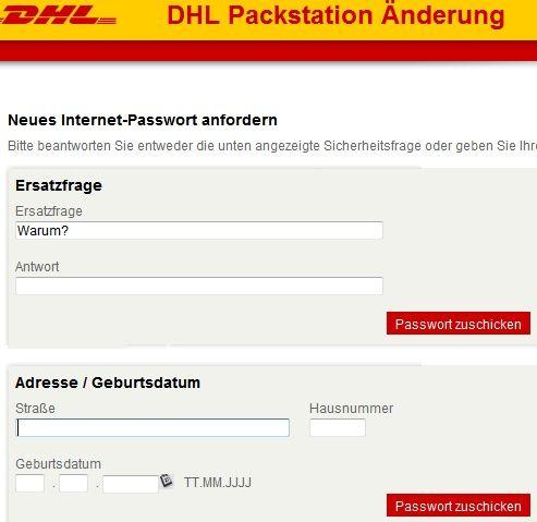 Packstation: verlorenes Passwort einfordern