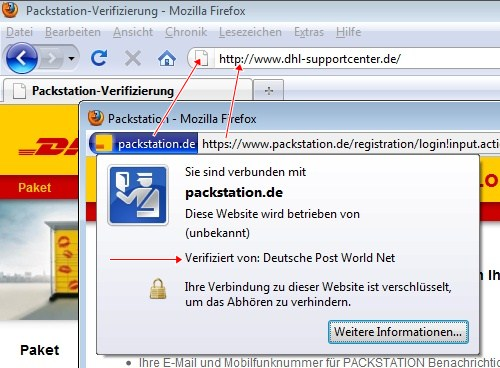 Packstation mit und ohne https im Firefox