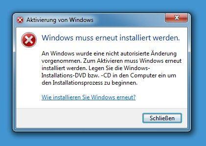 Windows muss erneut installiert werden