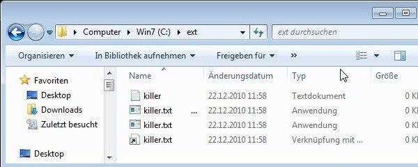 killer.txt, killer.txt ...exe, killer.txt.exe und killer.txt-pig mit ab Werk ausgeblendeten Dateierweiterungen