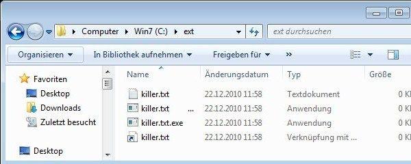 killer.txt, killer.txt ...exe, killer.txt.exe und killer.txt-pig mit eingeblendeten Dateierweiterungen
