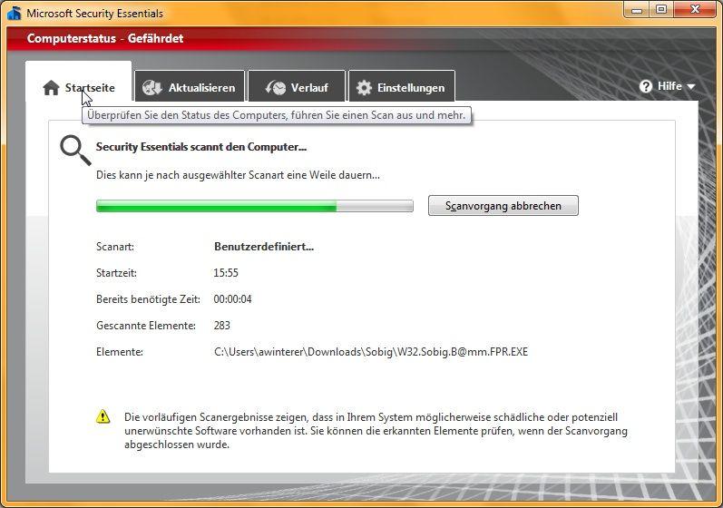 Microsoft Security Essentials 2.0 auf der Suche