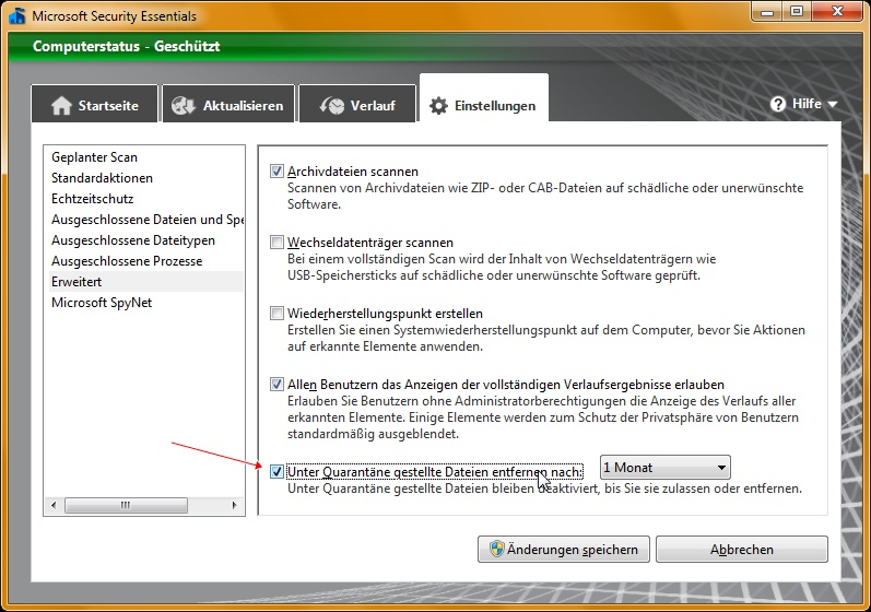 Microsoft Security Essentials 2.0: Quarantäneeinstellung