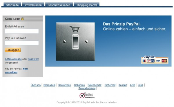 Typische PayPal-Phishing-Site