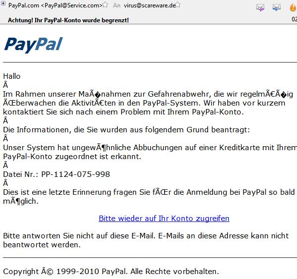 Achtung! Ihr PayPal-Konto wurde begrenzt!