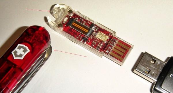 Victorinox Secure: Der USB-Stick läßt sich aus dem Messer nehmen