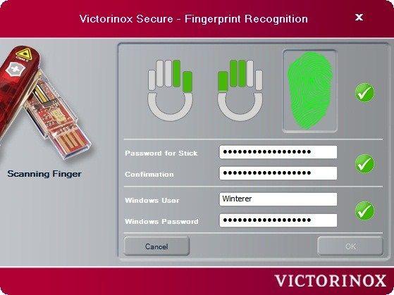 Victorinox Secure: Fingerabdrücke einrichten