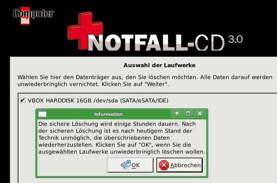Notfall-CD: sicheres Löschen