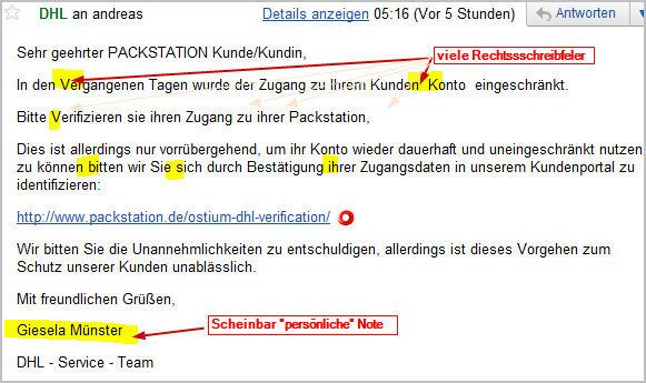 Phishing-Mail: DHL Packstation-Verifizierung