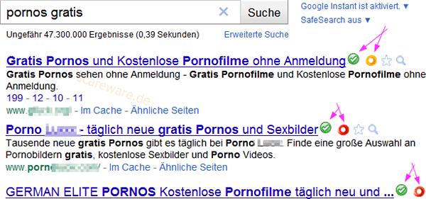 Porno-Suchergebnis mit Anmerkungen von WOT und SiteAdvisor