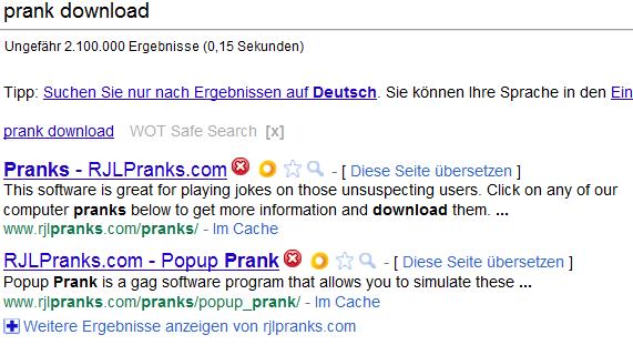 Prank-Suche mit Bewertungen von WOT und SiteAdvisor