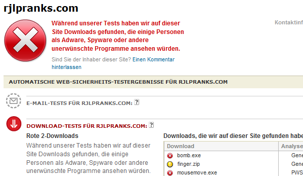 McAfee SiteAdvisor Diagnose