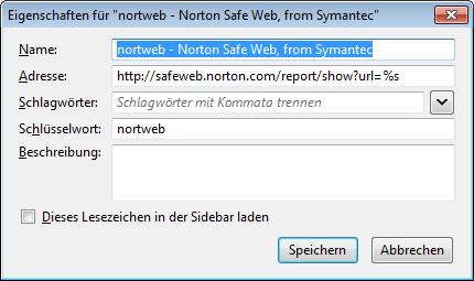 Norton Safe Web Lite - manuelle Firefox-Schnellsuche
