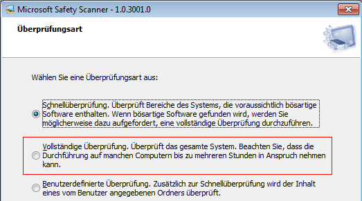 Microsoft Safety Scanner - Suchprofile