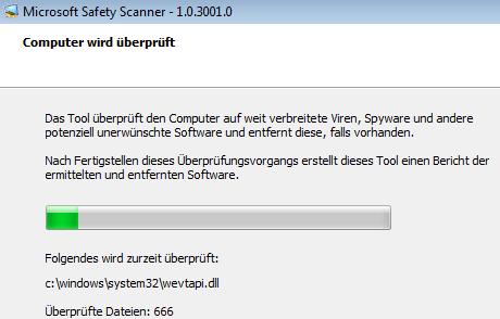 Virensuche mit Microsoft Safety Scanner