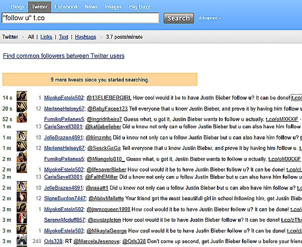 Spammer twittern für Justin Bieber