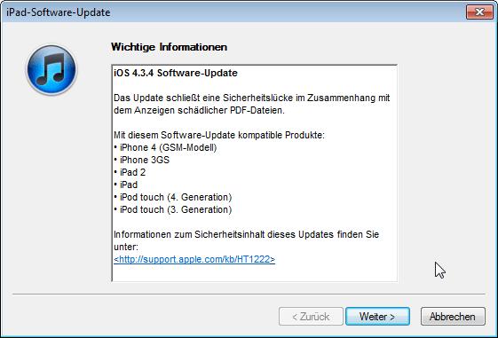 iOS Update 4.3.4