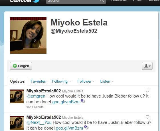 Twitter-Spammer für Justin Bieber
